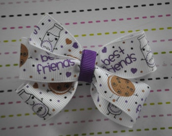 PB & J Hair Bow, Peanut Butter and Jelly Bow, BFF Bows, Purple and White Hair Bow, 3 inch Hair Bow, Girls Hair Bow, Toddler Hair Bow