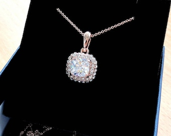 Rose gold crystal diamond necklace pendant bridal necklace geometric everyday necklace gold jewelry gift for mother birthday gift for wife