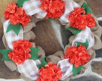 Fall Orange Floral Rustic Burlap Wreath