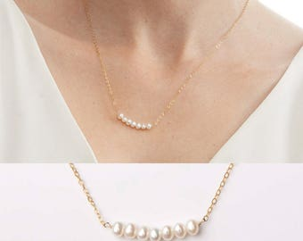 Small Freshwater Pearl Necklace - Bridal Wedding Bride Bridesmaid-Simple Minimal-14k Gold Filled, Rose Gold Filled, Sterling Silver - CG207N
