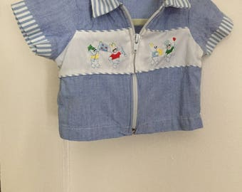 Baby Halloween Costume: 1950s Vintage Boy's Shirt with Embroidered Rabbits 3-6 mos