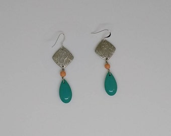 Turquoise Teardrop Stone Earrings with Silver Pendant and Genuine Coral Accent