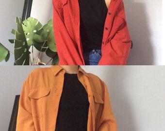 VINTAGE DAL Fall Oversized Shirts : Red Orange Top & Mustard Top