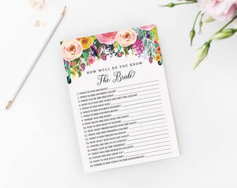 Editable How Well Do You Know The Bride Shower Game PDF Template Printable, Bridal, Baby, Shower, Instant Download, MAM106_62