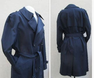 London Fog navy blue trench coat size 44R, double breasted raincoat