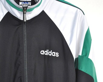 Vintage Adidas jacket, Adidas Trefoil jacket, Mens sports jacket, track jacket, vintage colorblock zip up jacket