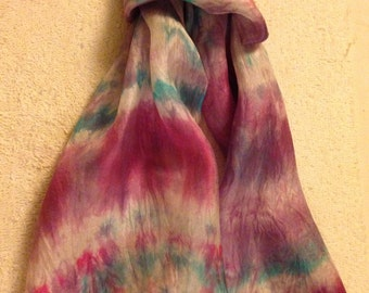 handpainted silk scarf, purple-red, blue-green and white, woman's scarf, shawl or wrap, unique, original, wearable art