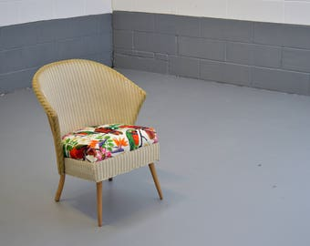 Lloyd Loom Chair - 'Lusty' - Vintage Retro - Upcycled - Reupholstered