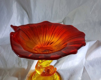 Compote Dolphin Lotus Amberina Glass