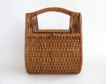 Vintage Box Purse, Wicker Handbag