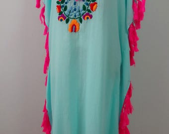 Hand Embroidered Tunic, Embroidered Dress, Embroidered Kaftan