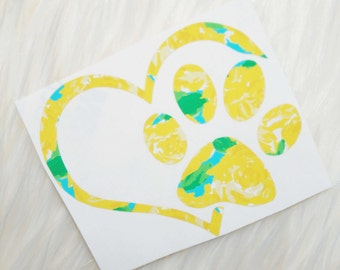 Lilly Pulitzer Inspired Paw Print Heart - Vinyl Decal