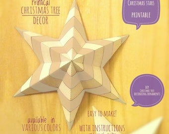 Christmas stars, DIY, printable, Christmas decor, diy Christmas ornaments, Christmas art, holiday decor, stars,4 Christmas tree, OMBRE light