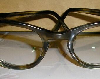Vintage 60s, catseye glasses, clear lens, non-prescription, brown tortoiseshell