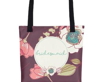 Bridesmaid Totes | Tote Bags For Bridesmaids | Bridesmaids Tote Bag | Bridesmaid Tote Gift | Floral Wedding Tote | Floral Wedding Bag | Tote