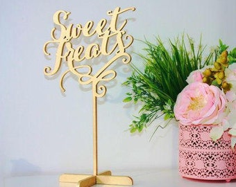 """Sweet Treats  Freestanding Table Sign for Wedding - Wedding Dessert Table Sign-Please Enter your phone number in the """"NOTE to the seller"""""""