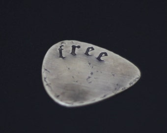 "Personalised Distressed Custom Brass Guitar Pick with ""Free"" Engraved Lettering in Old English Font"