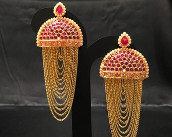 Indian Earrings - Pakistani Earrings - Ruby Red and Gold Chandelier Earrings - Kundan Earrings - Polki Earrings - Indian Bridal - Bollywood