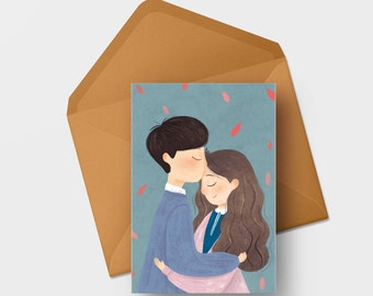 Note card - Couple Kissing