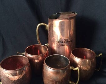 Copper & Brass Pitcher with Mugs