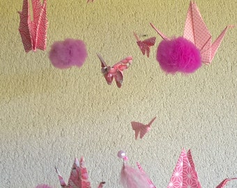 Origami mobile / pink