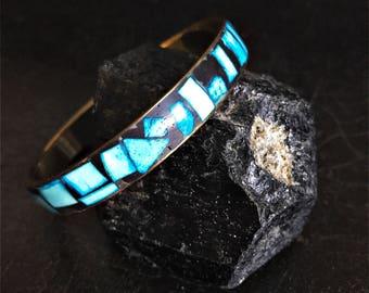 Vintage Brass & Bone Bangle | Brass Bracelet | Blue And Black