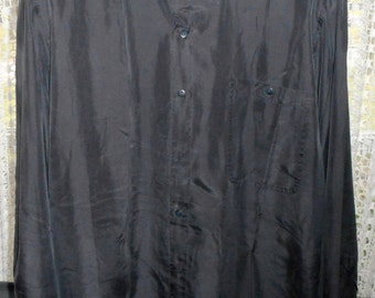 Vintage Very Awsome  80's  100% Silk Black Shirt    by ON THE BRINK    Never Worn    still with tags on it