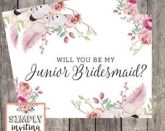 Junior Bridesmaid Wedding Card,  Proposal Card, Will You Be My Bridesmaid, Junior Bridesmaid Request Card, Be My Bridesmaid Printed Card