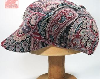 Paisley velveteen newsboy cap slouchy boho velvet cotton winter cap