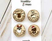 Christmas Magnet Set, Funny Christmas Gift, White Elephant Gift, Magnets, Stocking Stuffers, Wood Burned, Personalized Gifts, Unique Gifts