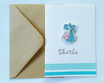 New Baby Boy Card (Personalised with Name)
