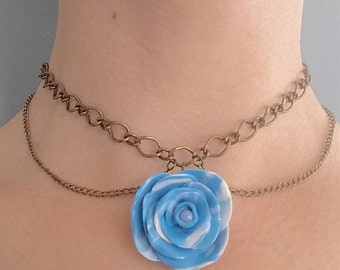 Rose Pendant | Double Chain Choker Necklace | Handmade | Polymer Clay