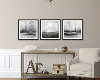 Set of 3 prints digital downloadable art triptych prints square printable wall art instant download black and white abstract modern artwork