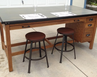 industrial mid century oak drafting table or bar height dining table