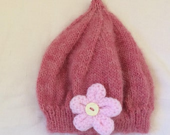 Hand made, natural fiber, Baby hat, baby clothes, Beanie hat, slouchy beanie, Pink color, beanie cap 0-9 month, girl gift, baby gift,