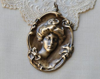 Victorian Style Lady Full Front Portrait Gibson Updo Hairstyle Woman Large Pendant Brass Antiqued Pendant 21V