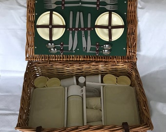 Vintage Picnic Basket - Service for 4 - Optima Wicker Suitcase Style - Made in England - FREE SHIPPING
