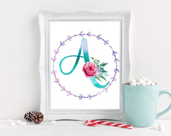 monogram wall art nursery initial print nursery letter A baby room decor boy nursery decor girl floral alphabet print nursery custom name