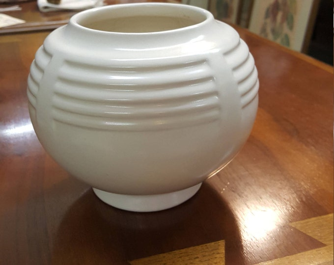 Vintage Farm House Pottery Modern Arts and Craft Roseville Round Space Age Vase Rose Bowl