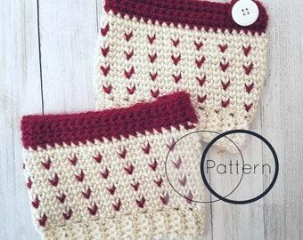 Bootcuffs Crochet Pattern/ Little Hearts Crochet Pattern/Waistcoat Stitch Crochet Pattern/ Easy and Quick Crochet Bootcuffs/ The Norie