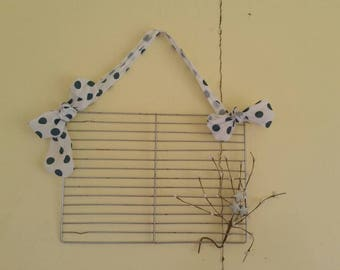 REpurposed cooling rack to shabby chic organizer rustic decor magnetic memo board  dorm decoration gift her him