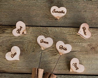 10 Wood name cards, Wooden wedding place cards, Wood escort cards, Rustic table place cards, Wedding gift for guests, Table place cards