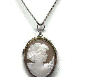 Sterling Silver Carved Shell Cameo Necklace c1930's