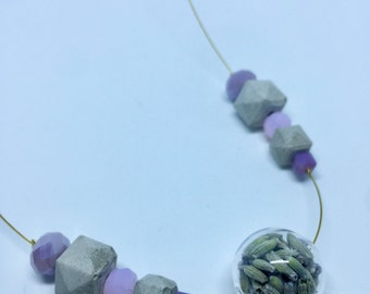 Concrete necklace with blown glass globe and lavender, pink and lilac crystals, gift idea, cheap gift, Valentine's Day gift