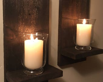 Rustic Barn Board Wall Sconces / Candle Sconces