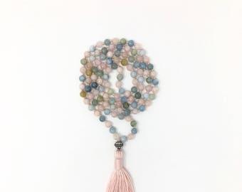 Hand knotted 108 Morganite Mala Necklace, 108 meditation Mala beads