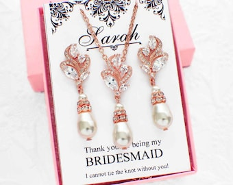 Rose Gold Bridal jewelry, wedding party jewelry, maid of honor gift, pearl drop jewelry set, crystal necklace set, bridesmaid jewelry set