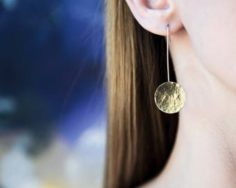 Handmade sterling silver and brass hammered disc drop earrings