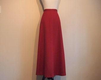 Vintage 1970's Red Maxi Skirt; Maxi Skirt Boho