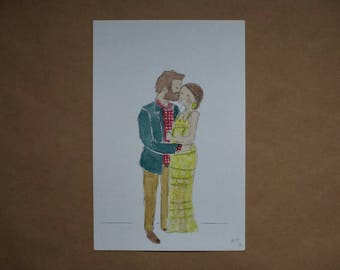 Custom Couple Water Color-Engagement Gift